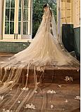 In Stock Beautiful Cathedral Wedding Veil With Lace Appliques & Sequins