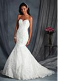 Marvelous Organza Sweetheart Neckline Mermaid Wedding Dresses with Sequin Lace Appliques