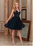 Attractive Tulle & Satin V-Neck A-Line Short Bridesmaid Dresses With Beads