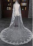 In Stock Marvelous Tulle Cathedral Wedding Veil With Lace Appliques