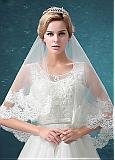 In Stock Romantic Tulle Ivory Wedding Veil With Lace Appliques