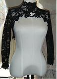 Glamorous Tulle Illusion High Neckline Women's Jacket With Lace Appliques