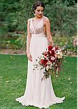 Beautiful Sequin Lace & Chiffon V-neck Neckline Floor-length A-line Bridesmaid Dresses