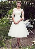 Stunning Tulle Jewel Neckline Tea-length A-line Wedding Dress With Lace Appliques