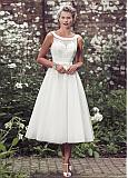 Charming Polka Dot Tulle Scoop Neckline Tea-length A-line Wedding Dress With Beaded Lace Appliques & Belt