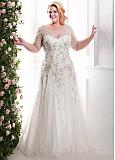 Glamorous Tulle & Organza Scoop Neckline Plus Size A-line Wedding Dresses With Beaded Embroidery